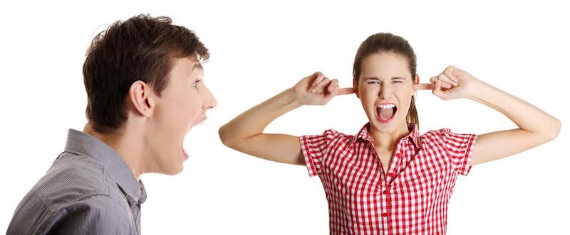 man and woman yelling