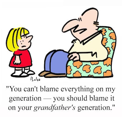 man tells child to blame things on his father's generation cartoon